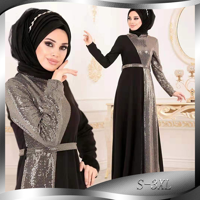 Ramadan Eid Sequin Abaya Dubai Turkey Hijab Muslim Evening Dress Turkish Dresses Abayas For Women Kaftan Islamic Clothing Caftan