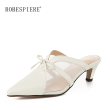 цены ROBESPIERE Women Slingbacks Shoes Spring Autumn New Pointed Toe Spike Heels Casual Shoes Woman Slip On Mesh Large Size Pumps A87