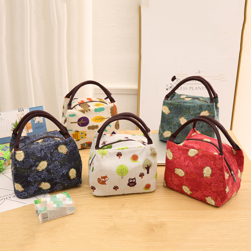Animal Printing Cute Kids Tote Lunch BagsThermal  Insulated  Women Lunch Box Bags Picnic Foods Cooler Pouch Handbags