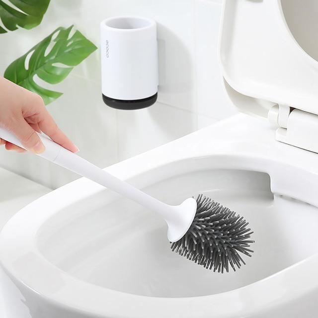 Фото силиконовая щетка для туалета мягкая щетина настенный набор