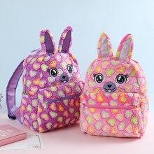 New Rabbit Fur Backpack For Women Winter Cartoon Plush Girls Travel Backpacks Female Schoolbag