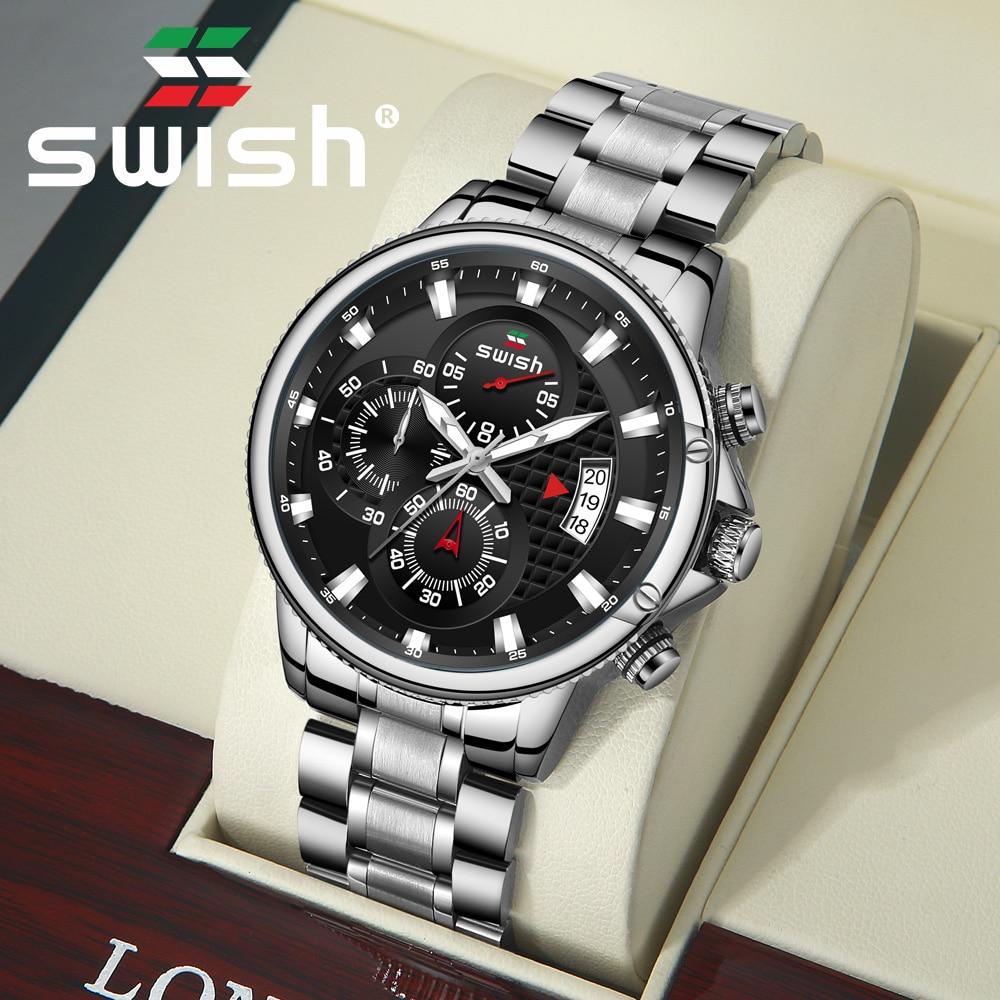 SWISH Silver Stainless Steel Quartz Watches Luxury Men Business Wristwatch Waterproof Sport Chronograph Military Watch 2020 Saat 1