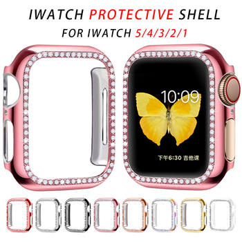 diamond case for apple watch band 40mm 44mm series 4 aluminum alloy frame strap bumper for iwatch 5 4 3 2 1 cover shell 38mm 42mm Diamond Bumper Protective case cover For Apple watch Series 5 4 3 2 1 Cases  44mm 40mm 42mm 38mm for iwatch 5 4 accessories