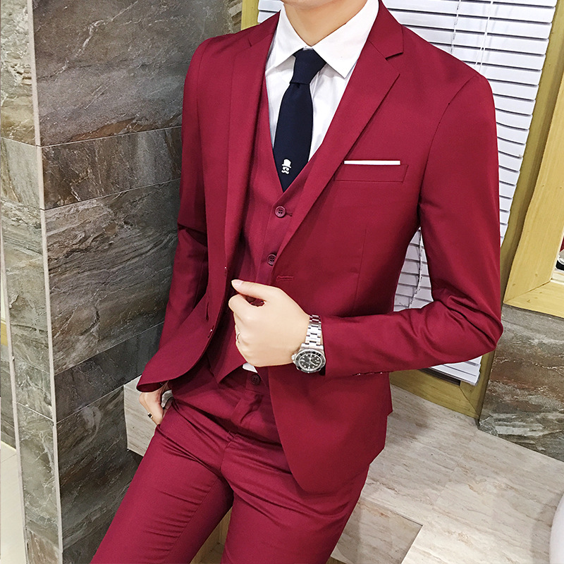 Suit Men Three-piece Set Korean-style Slim Fit Groom Best Man Unity Wedding Dress Suit Business Formal Wear Autumn And Winter