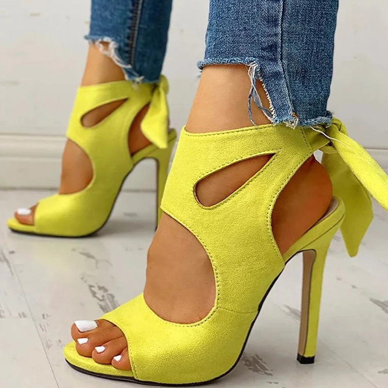 Women Sandals Ladies Floral Print Hollow Out Peep Toe Women Shoes Female Sexy Ankle Strap Thin High Heels Summer Footwear 2020