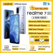 Realme-smartphone 7 5G, versión Global, pantalla de 120Hz, cámara cuádruple de 48MP, Batería grande de 5000mAh, cargador de dardos de 30W, 800U, 6/8GB de 128GB ROM
