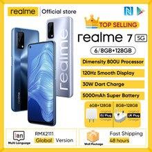 Realme 7 5G Dimensity 800U 6/8GB 128GB ROM 120Hz Display 48MP Quad Kamera 5000mAh Große Batterie Globale Version 30W Dart Ladegerät