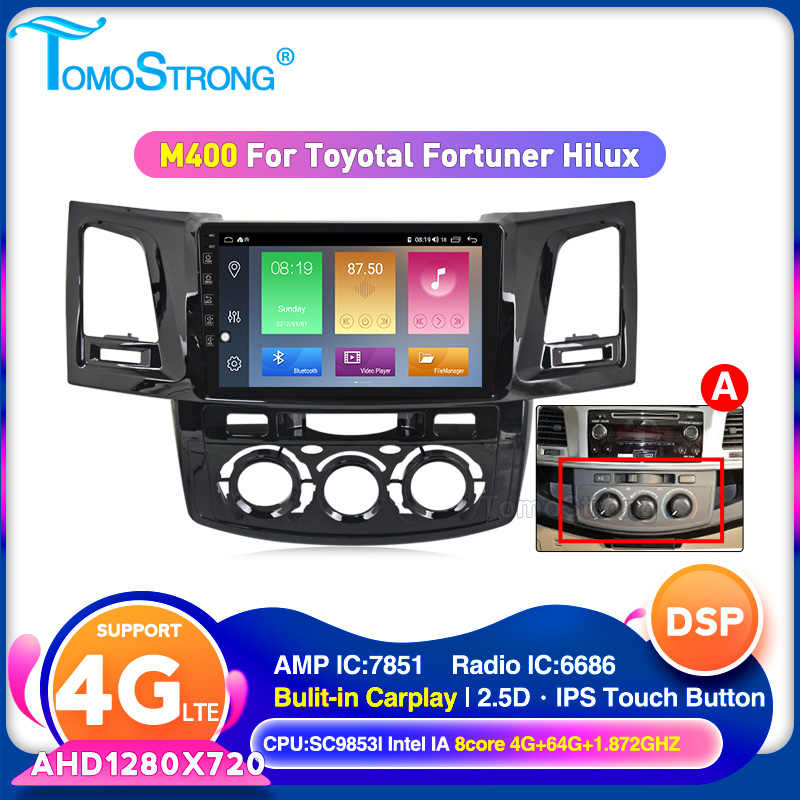 2 Din Android 10 araba multimedya video oynatıcı Toyota Fortuner/HILUX Revo / Vigo 2004-2013 2014 WIFI DVR CARPLAY stereo