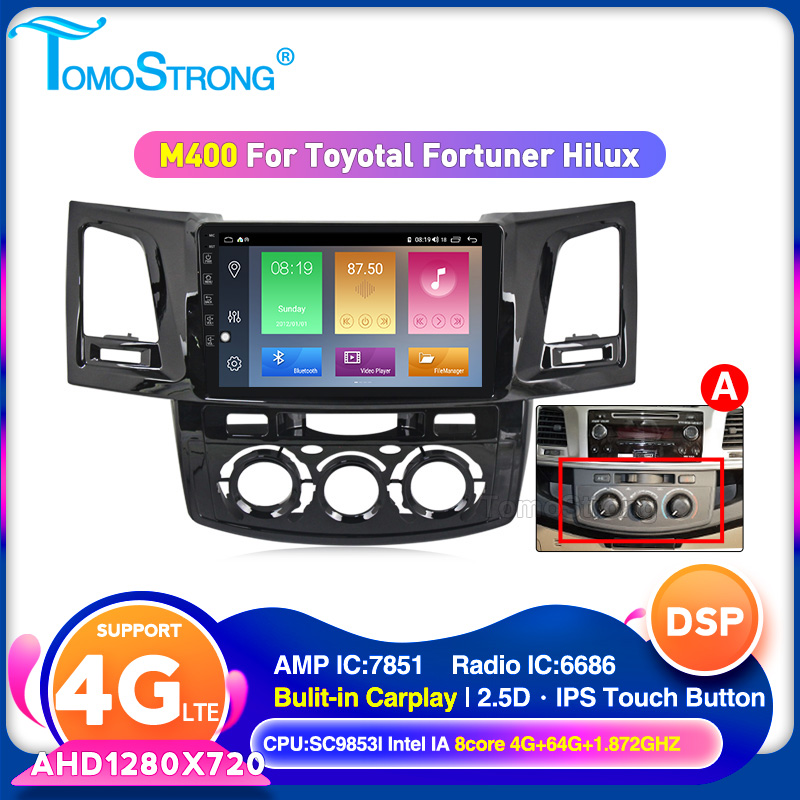 2 Din Android 10 Car Multimedia Video Player For Toyota Fortuner/HILUX Revo / Vigo 2004-2013 2014 WIFI DVR CARPLAY Stearo