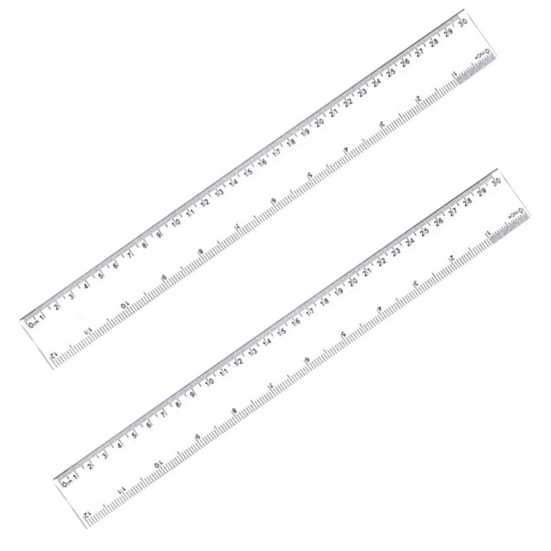 2 Pieces 12 Inches Clear Plastic Ruler Straight Ruler 30cm Plastic Measuring Tool For Student School Office
