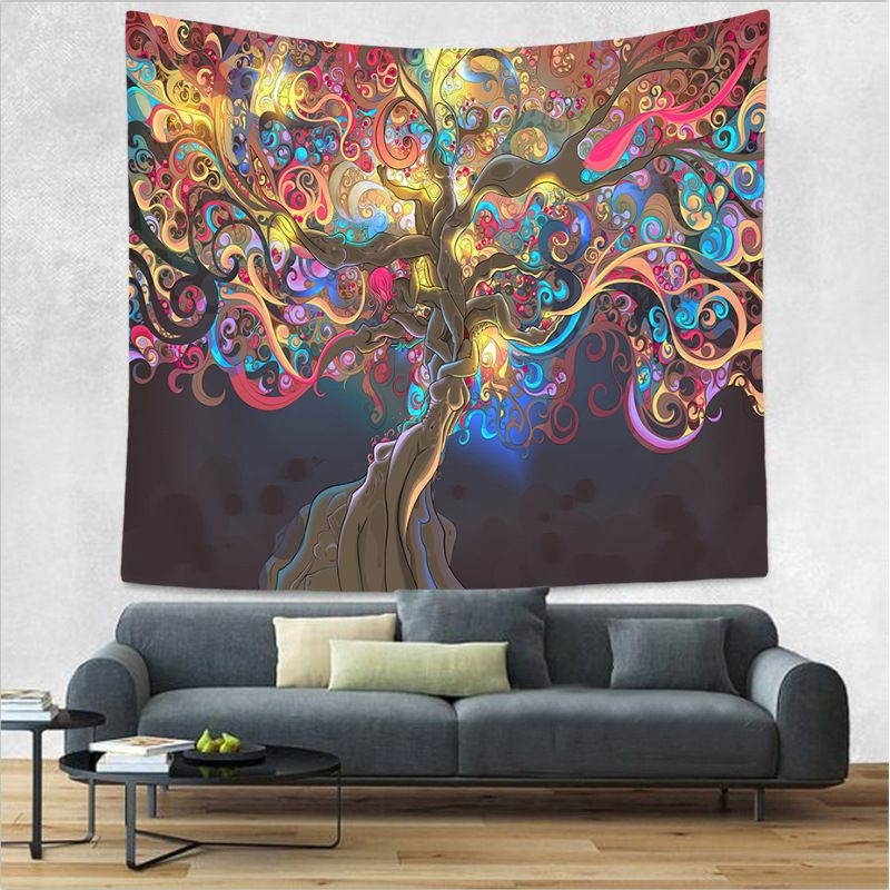 Colorful Trippy Fabric Tapestry Bedroom Living Room Wall Hanging Decoration Blanket