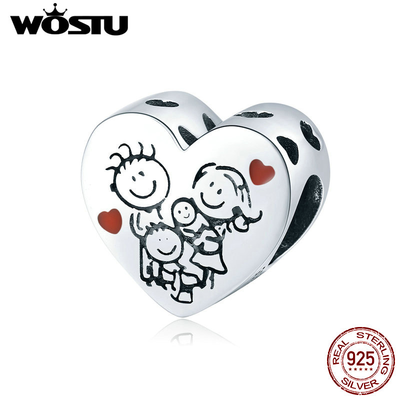 WOSTU Family Silver 925 Beads 925 SSterling Silver Love Family Heart Shape Charms For Girls Bracelets Silver 925 Jewelry CTC237