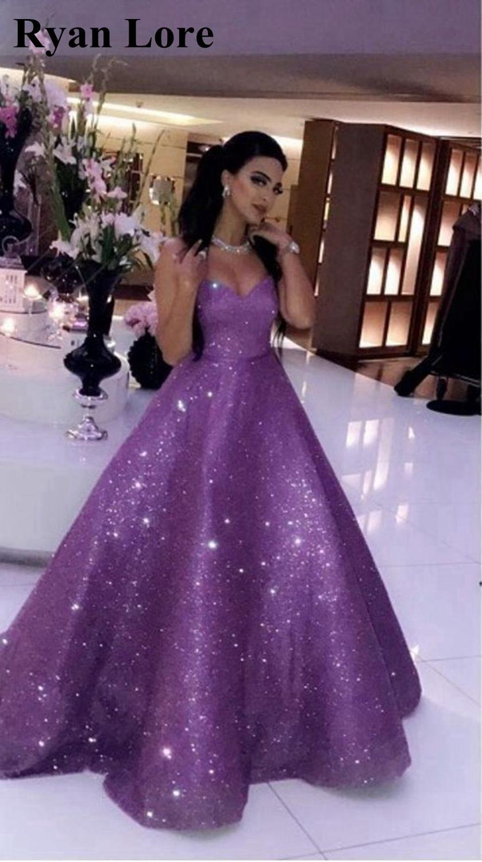 Lavender Sweetheart Neck Sequins Evening Dresses 2020 Women Party Night Prom Dress A-Line jurken Elegant Vestidos Robe De Soiree