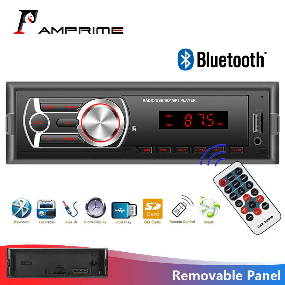 AMPrime Mobil Radio 1din Mobil Auto Audio Stereo Bluetooth Auto Radio FM/AUX/TF/USB dengan Rear View kamera Kontrol Roda Kemudi