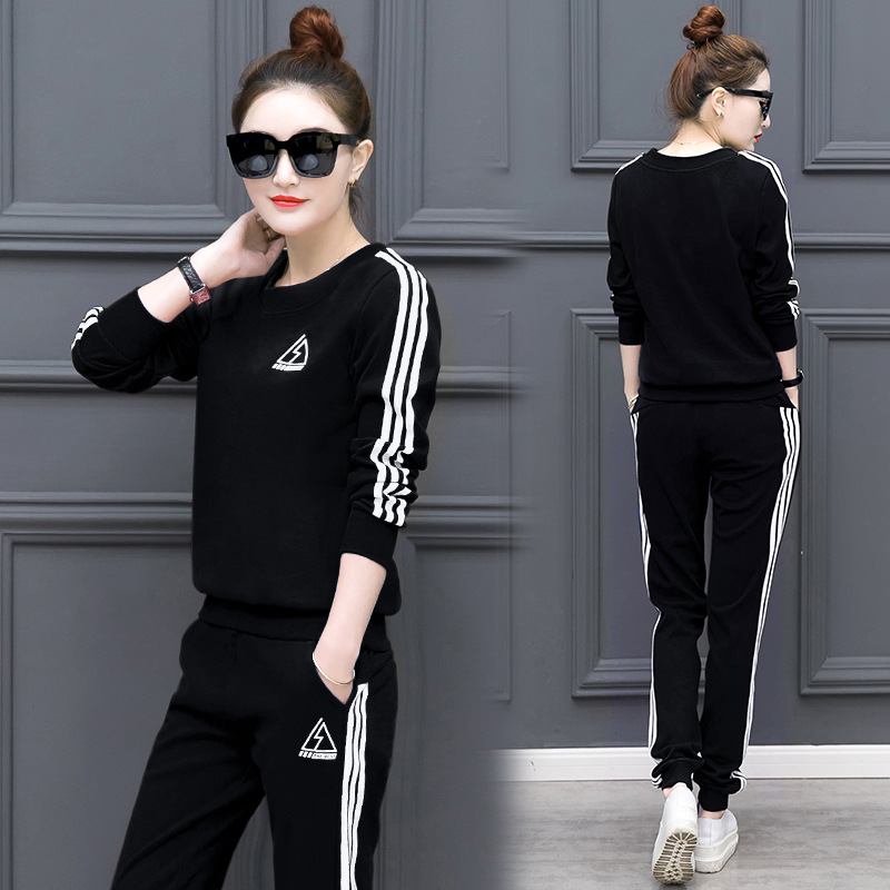 2019 Summer Korean-style Women's Wear New Style Large Size 2-piece Casual Suit Student Uniform Long Sleeve Slimming Sports Women