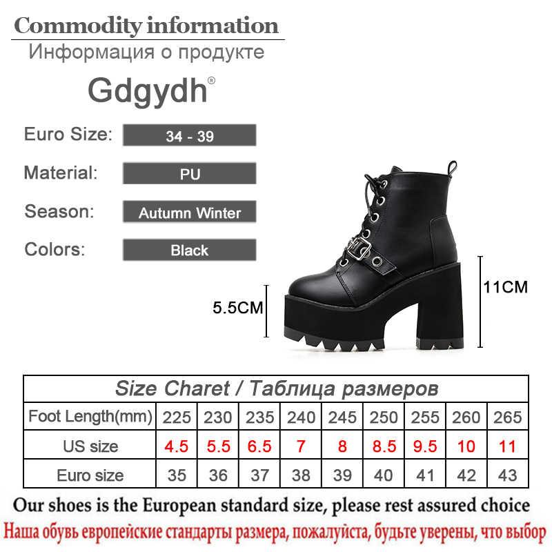 Gdgydh Mùa Đông Phối Ren Giày Chun Giày Boot Nữ Cao Cấp Màu Đen Da 2020 Mùa Xuân Mới Gợi Cảm Đinh Tán Buộc Dây nền Tảng Nêm Nữ