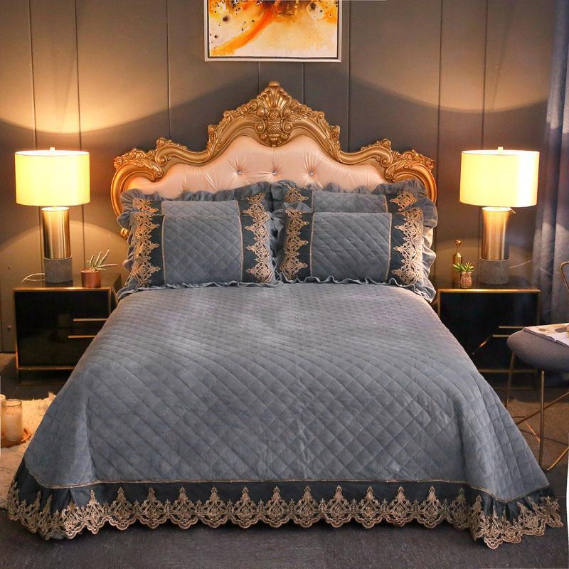 Набор пододеяльников King Queen, размер 3/5 шт, флисовый плюшевый теплый комбинезон, современный стиль, набор покрывал с бриллиантами и кружевом,
