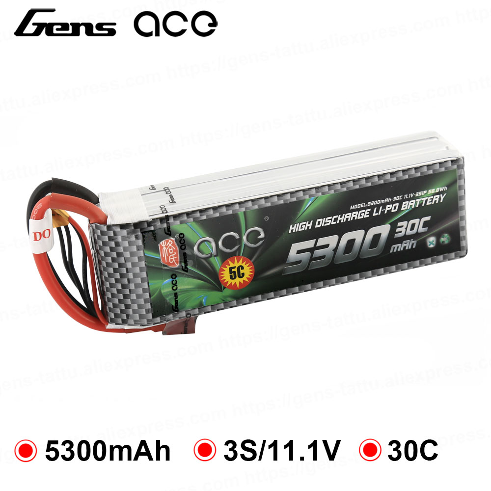 Gens ace Lipo Battery 3S 5300mAh Lipo 11.1V Battery Pack XT60 T Plug for Spartan Helicopter Airplane RC Car Boat RC Accessories