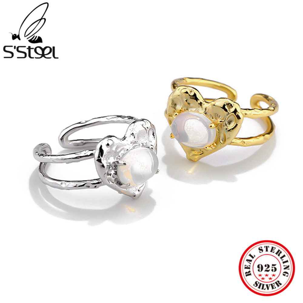 S'STEEL 925 стерлинговый серебряный с лунным камнем в минималистском стиле кольца в подарок для женщин, одинаковые вечерние Открытое кольцо диз...