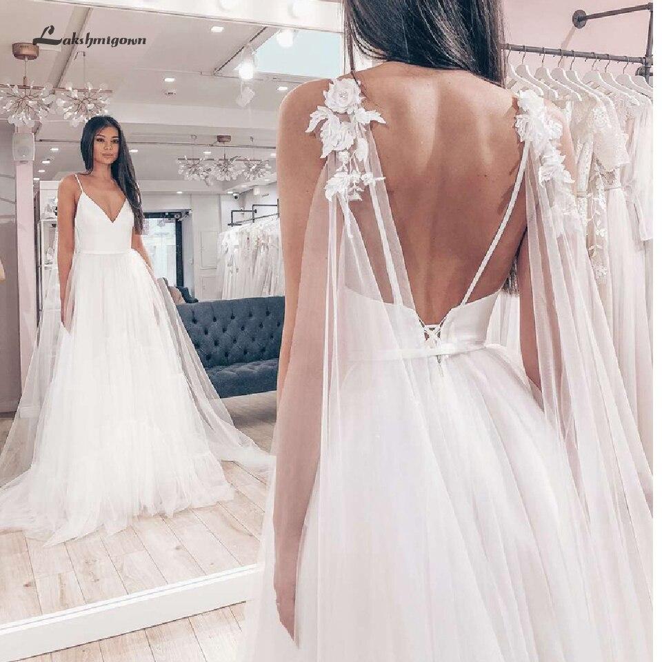 Lakshmigown bohème plage Robe de mariée une ligne Style 2019 Robe de mariée Sexy Boho Robe de mariée avec des bretelles Spaghetti Cape