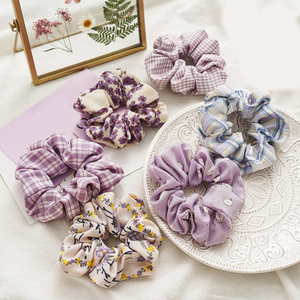 Purple Sweet Chiffon Hair Ties Rope Plaid Floral Printed Hair Accessories For Women Scrunchies Elastic Rubber Bands Hair Bands