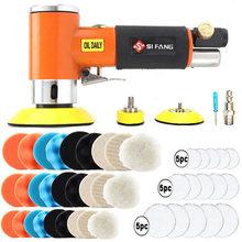2'' 3'' Mini Air Sander Right Angle Pneumatic Orbital Polisher Machine & Polishing Sponge Pads for Auto Body Waxing Buffing Kits