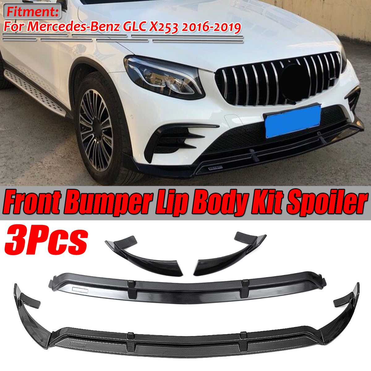 Glossy Black Front Bumper Lip Protector Cover 3pc For Ford Focus RS ST 2016-2018
