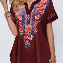 Women Summer Vintage Floral Print Blouse Casual Patchwork Tops Lady Fashion V-Neck Shirt Elegant Loose Blouses Plus Size Shirts