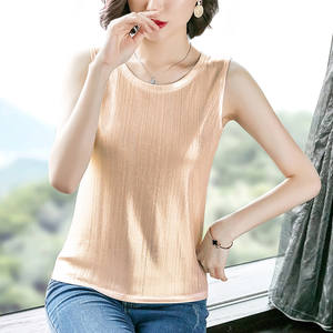 Women Tops Tank-Top Satin Silk Plus-Size Summer Sleeveless Vest Cami Office Elegant V-Neck