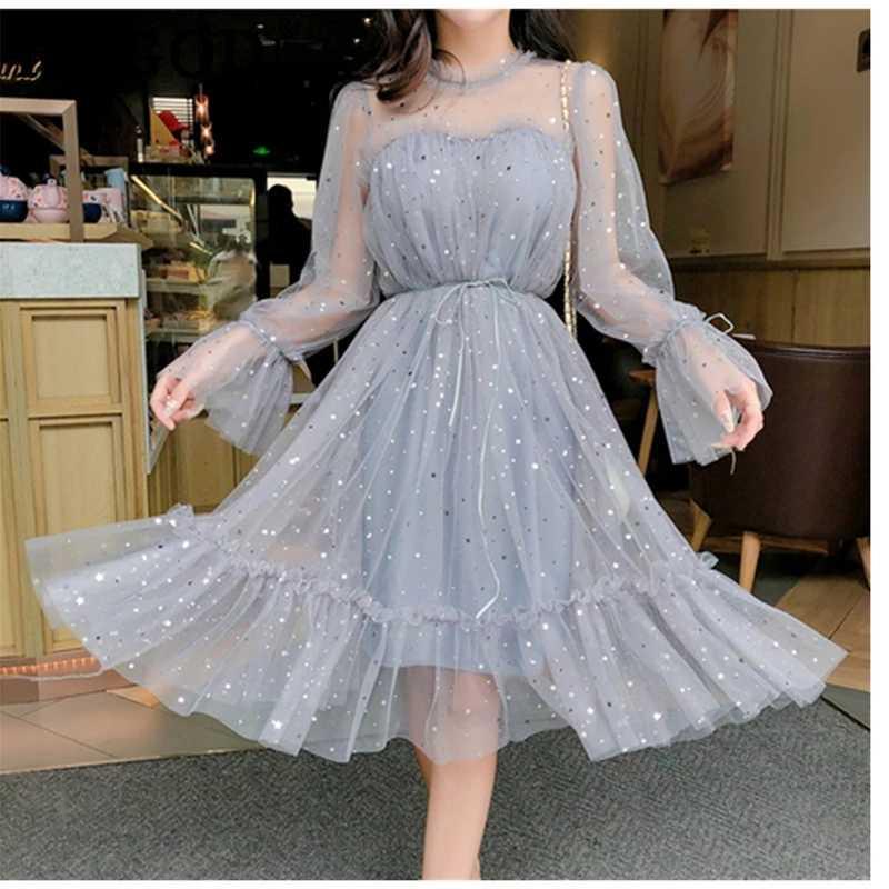 봄 가을 새로운 여성 오-넥 별 Sequined 메쉬 반짝 이는 요정 드레스 여성 우아한 블링 거즈 공주 퍼프 드레스