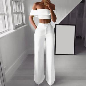 Lady Neon Green 2 Piece Set Women Solid Off the Shoulder Crop Top and Wide Leg Pants 2020 Sexy Summer Two Piece Outfits #1220