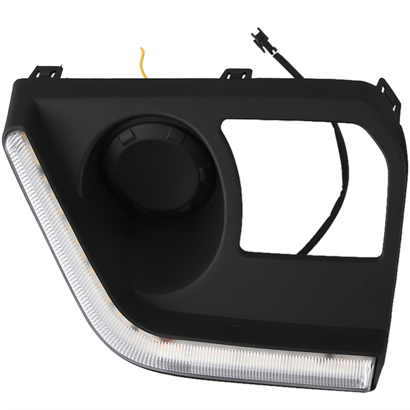 Feux de jour pour Mitsubishi Triton L200 2019 LED DRL conduite couvercle de feu de brouillard avec clignotant jaune - 3