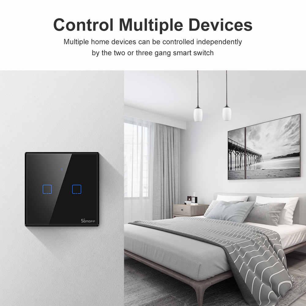Itead Sonoff T3UK 1/2/3 gang 433Mhz RF kontrolowane inteligentnego domu Wifi dotykowy przełącznik ścienny z RM433 obsługuje Alexa Google domu IFTTT