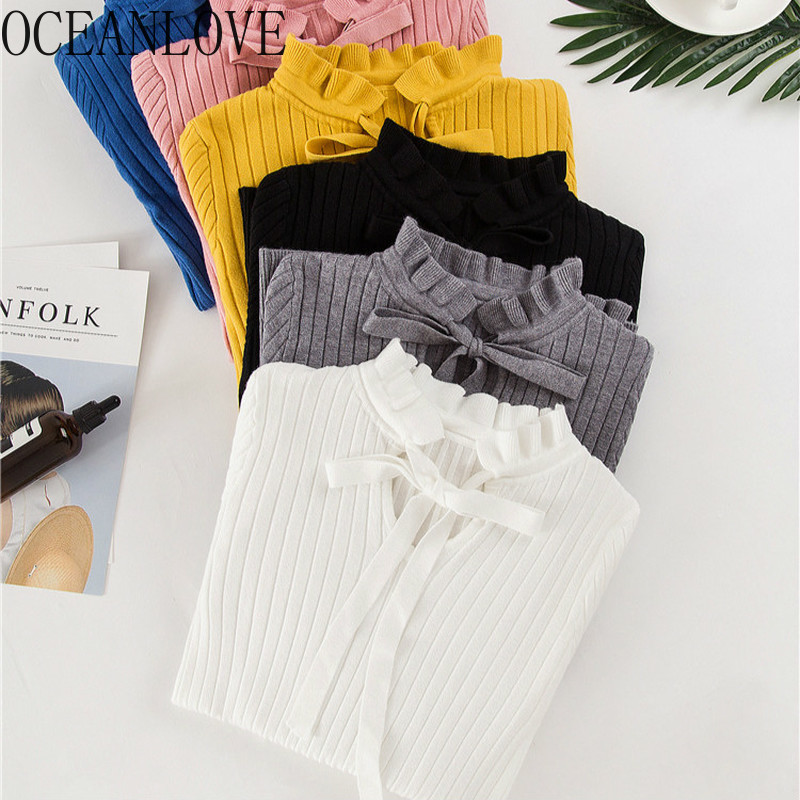 OCEANLOVE Bow Solid Sweet Sweaters Women Fashion Autumn Winter 2020 Pullovers Basic Lace Up All Match Pull Femme Slim 13387
