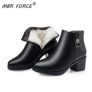 Botas de nieve MBR FORCE para mujer, zapatos cálidos de piel auténtica a la moda, botines de felpa con plataforma para mujer, botas cálidas de Invierno para mujer