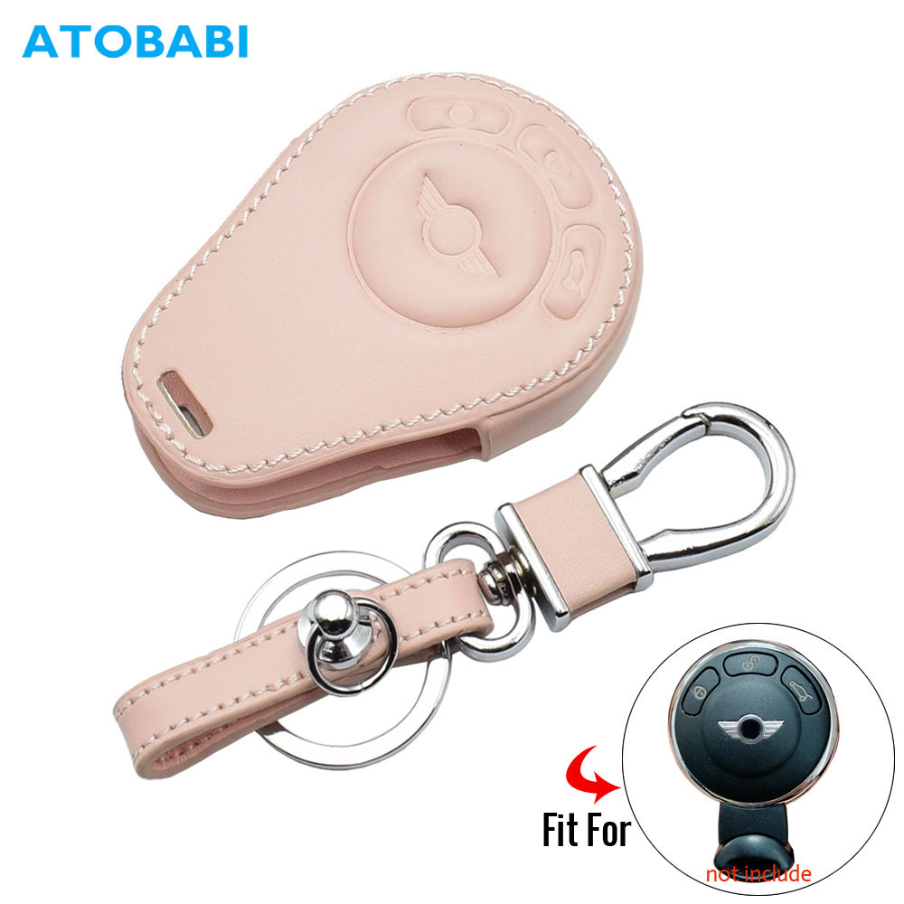 Real Leather Remote Key Case Cover Holder Brown For Mini One Cooper Coopers
