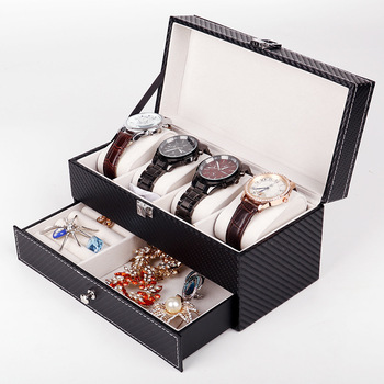 New Fashion Luxury Watch Box Leather Watch Storage Box with Drawer Watch Box Ring Brooch Jewelry Display Storage Box free shipping 3 grids watch display box red high light mdf watch boxes fashion watch storage box piano paint jewel gift box d019