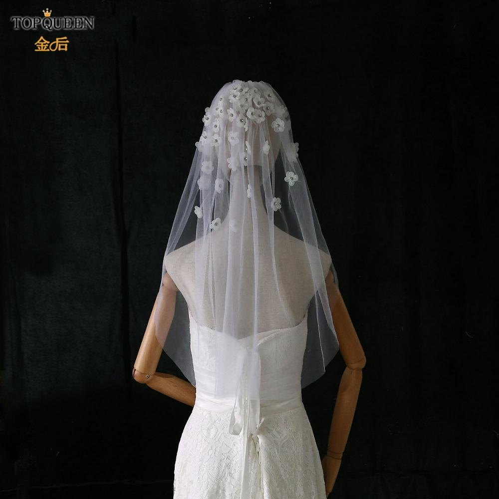 TOPQUEEN V46 2020 Cheap Wholsale One Layears White Ivory Veil for Women Flower Veils for Brides Wedding Veil Wedding Accessory