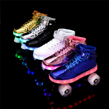 New Style Led Rechargeable 7 Colorful Luminous Double Row 4 Wheel Roller Skates Patines Outdoor Men Women Shoes