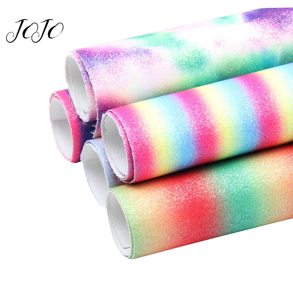 JOJO BOWS 22 30cm 5pc Rainbow Thin Glitter Fabric Sheet For Needlework DIY Hair Bows Shoe Apparel Bag Sewing Home Decoration in Fabric from Home Garden