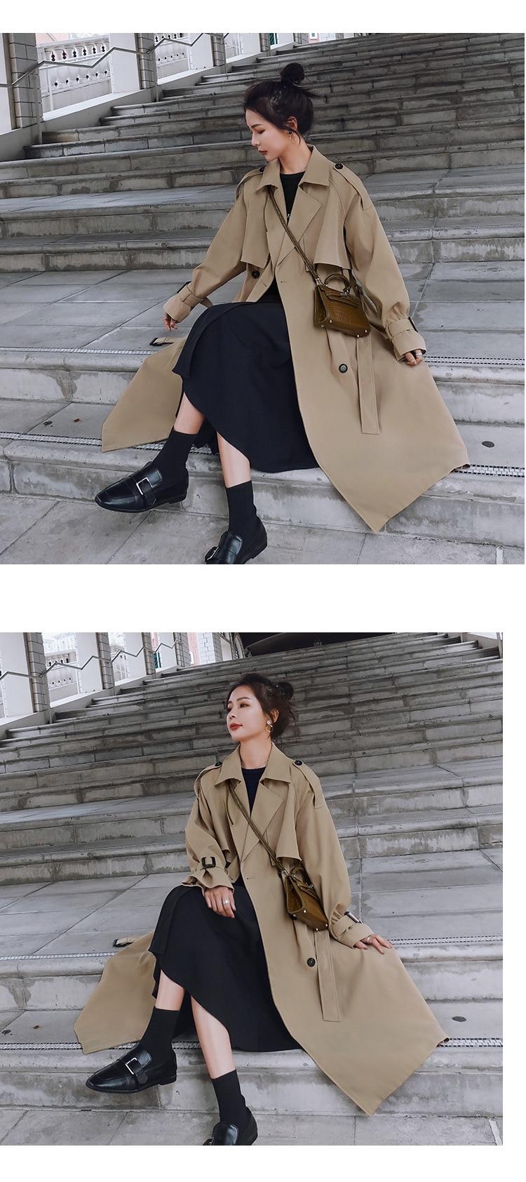 Haff160e6b39949d48e48498ced06746fP 2021 Autumn Women Trench Coat With Belt Women Clothes Blue Coat Casaco Feminino Harajuku Abrigo Mujer Long Trench Femme