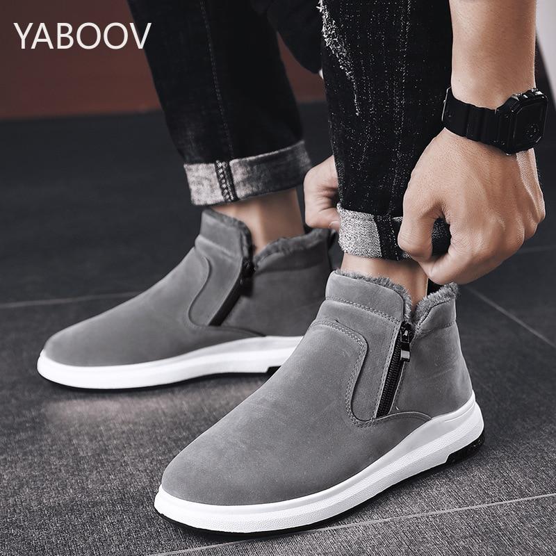 Mens Winter Snow Boots Anti-Slip Warm Fur Lining Outdoor Fashion Zapatos De Hombre Walking Shoes For Men