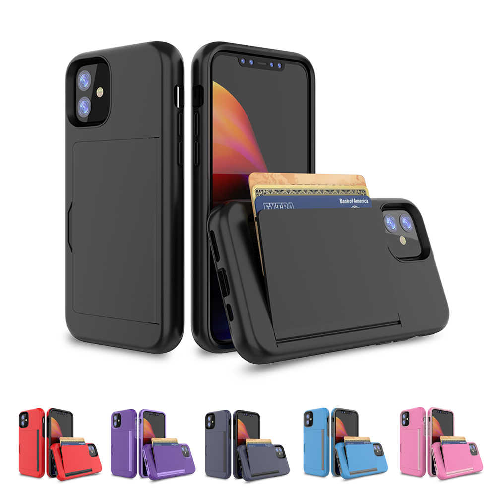 For 2019 iPhone 11/11 Pro/11 Pro Max Back Case Dual Layer TPU+PC Hybrid Anti-scratch Card Slot Protective Shell For iPhone 11