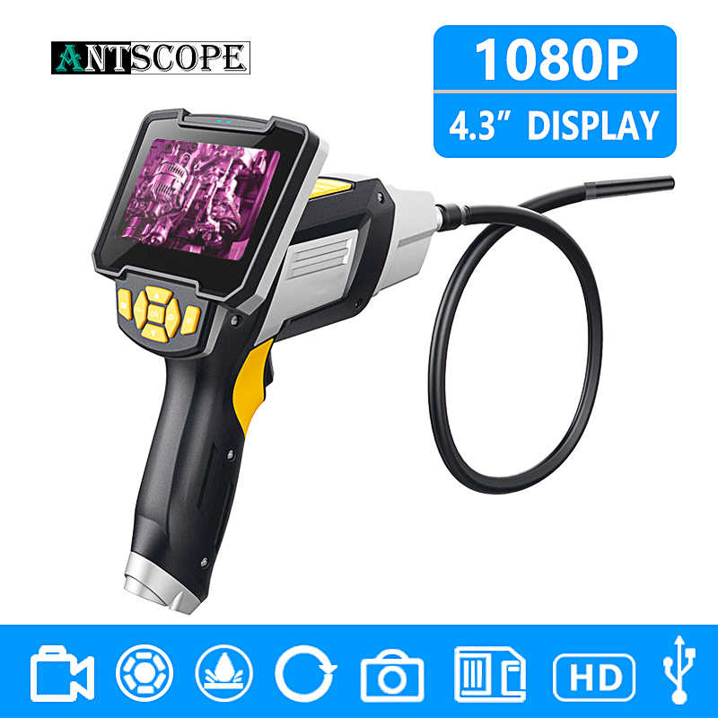 Antscope 1080P HD 8mm Industrial Endoscope 4.3 Inch Car Inspection Camera Handheld 1/3/5/10m Endoscope Snake Tube Hard Camera 19