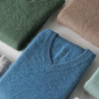 Klasyczne męskie 100 norek z kaszmiru swetry 2020 Solid Color V-Neck z dzianiny w stylu Casual swetry zimowe męskie z długim rękawem ciepły sweter tanie i dobre opinie SZDYQH Elegancko na luzie inny CHINA Winter -DBR90 Stałe Płaska dzianina Pełne NONE REGULAR Grube Brak Standardowa wełna
