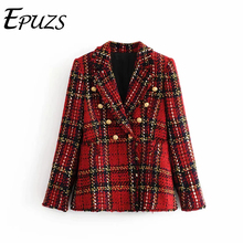 Vintage red plaid tweed blazer women winter caot casual long sleeve office suit