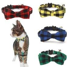 Цветные клетчатые воротники для кошек, хлопковое Полосатое ожерелье с бантиком для бульдога чихуахуа, галстук-бабочка для щенка, маленькие собачки, вечерние банданы