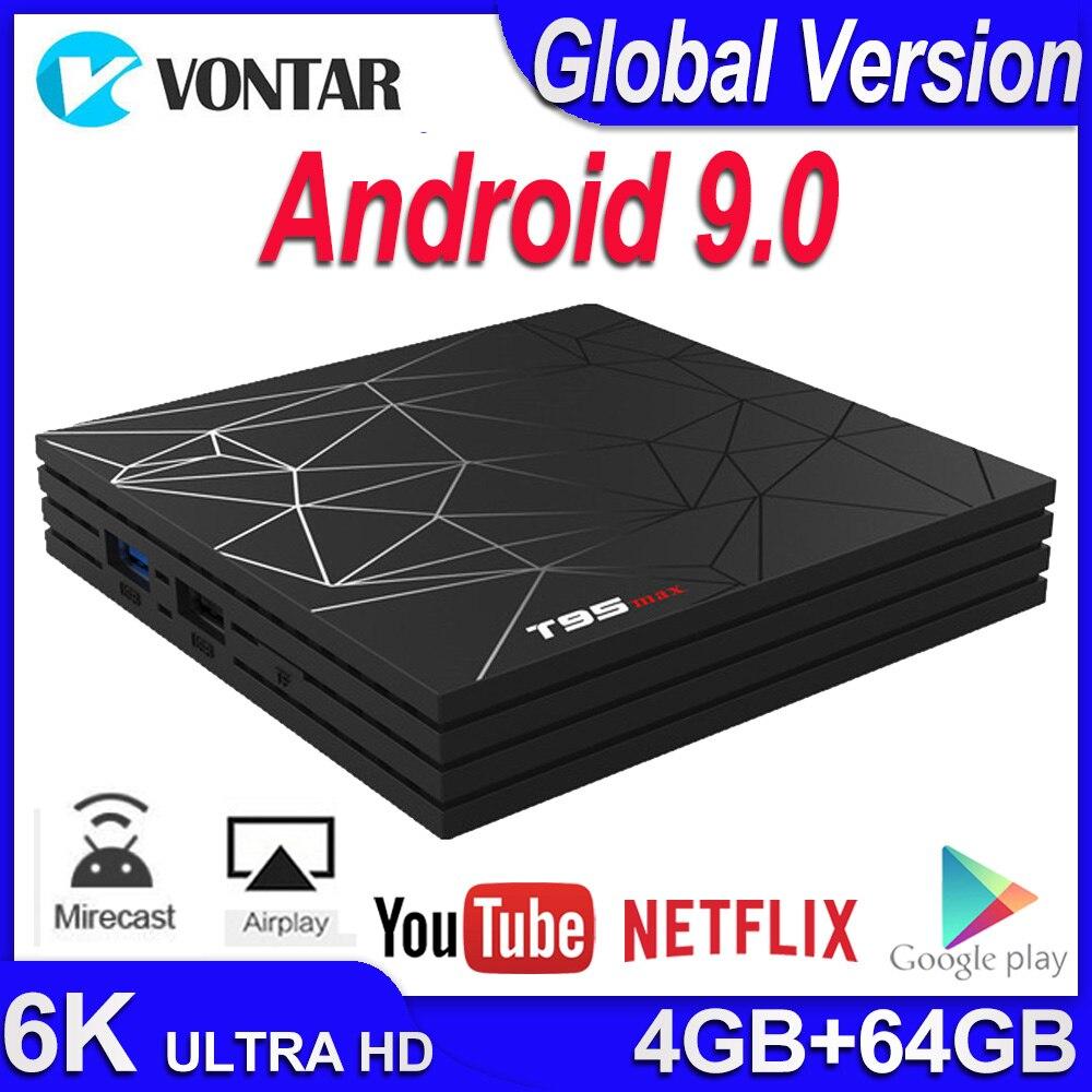 T95 MAX Smart TV BOX Android 9.0 4GB RAM 64GB Android TV Set Top Box Allwinner H6 2.4G Wifi Youtube IPTV 4K Media Player T95max
