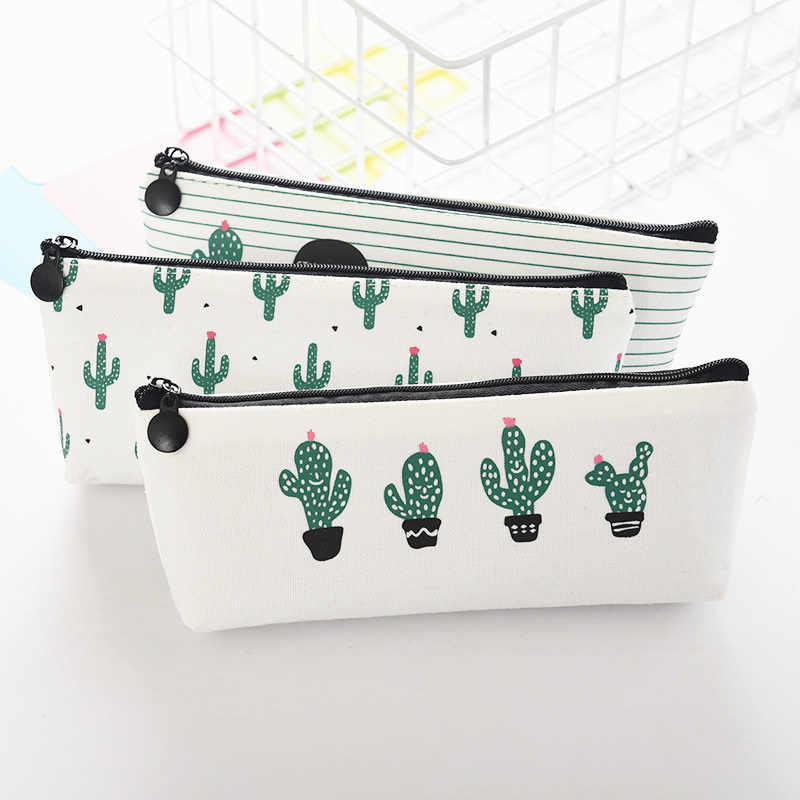70beafe094de PURDORED 1 Pc Cactus Cosmetic Bag Women Pineapple Makeup Bag Travel Leaf  Printing Student Pencil Bag Toiletry Bag Organizer