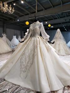 Image 3 - HTL1258 2020 חתונה שמלת boho גבוהה צוואר ארוך שרוול נצנצים ואגלי קריסטל תחרה עד בחזרה כלה שמלות suknia ślubna boho חדש